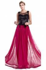 Kadın Mürdüm Eteği Tül Üst Kısmı Siyah Pul İşlemeli Uzun Abiye Elbise 7129