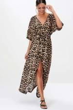 Kadın Camel Leopar Desenli Kruvaze Elbise M989