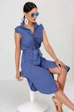 Kadın Lacivert Yaka Dantelli Gömlek Elbise CZ1142