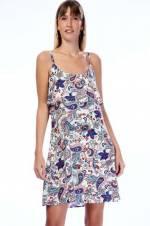 Kadın Beyaz Desenli Dokuma Viskon Desenli İp Askılı Elbise 8292710