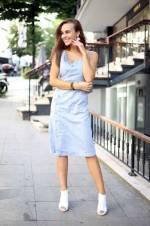 Kadın Mavi Keten İp Askılı Düğmeli Elbise 8222273