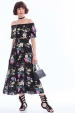 Kadın Siyah-Saks Viskon Desenli Madonna Yaka Elbise 8210085