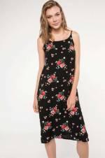 Kadın Çiçek Desenli İnce Askılı Elbise G8648AZ.18HS.BK27