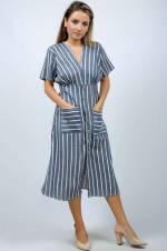 Kadın Füme V Yaka Çizgili Cepli Önü Düğmeli Keten Elbise P-011266