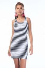 Kadın Ekru-Laci Kolsuz Çizgili Elbise