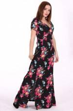 Kadın Kruvaze Yaka Kısa Kollu Kemerli Pembe Çiçekli Uzunboy Siyah Elbise