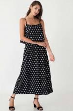 Kadın Siyah Puanlı İp Askılı Elbise 21261