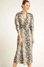 Kadın Bej Yılan Desenli Kruvaze Elbise 18Y23195 FN00607