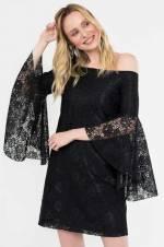 Kadın Sıyah Straplez Dantel Mini Elbise 5191-1239