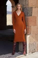 Kadın Taba V Yaka Saç Örgü Elbise JU8-9W-437