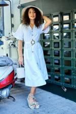 Kadın Beyaz V Yaka Düğmeli Kemerli Fırfırlı Kısa Kol Elbise TY18YB110107