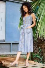Kadın Gri Melanj Ahşap Düğmeli Çizgili Askılı Elbise TY18YB110209