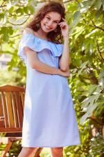 Kadın Mavi Madonna Yaka Kareli Elbise TY18YB118000