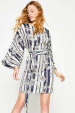 Kadın Ekru Desenli Elbise 8KAF80293FW