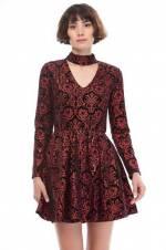 Kadın Kırmızı Desenli Elbise 8KAK84695FK