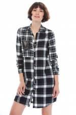 Kadın Siyah Ekoseli Elbise 8KAK83221QW