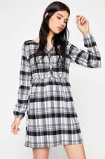Kadın Siyah Ekoseli Elbise 8KAL83247QW