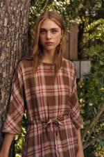 Kadın Kırmızı Kareli Keten Elbise 33085802