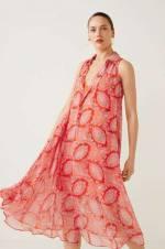 Kadın Paisley Desenli Dökümlü Turuncu Elbise 31030878
