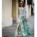 Bayan Bohemia Uzun Kollu Sarkaç Gömlek Elbise Nane