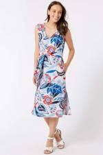 Kadın Krem Desenli Keten Midi Elbise T42009252