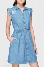 Kadın Jean Elbise Aya Çiçek Nakışlı 130512-25600