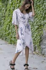 Kadın Pudra Ön Bağlamalı Etek Ucu Fırfırlı Elbise 18Y0280138