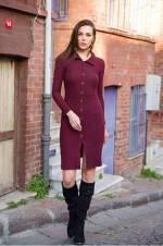 Kadın Bordo Düğmeli Mini Elbise Bordo 247
