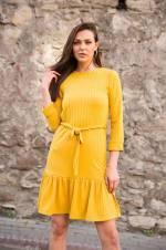 Kadın Hardal Eteği Volanlı Mini Elbise Hardal 215