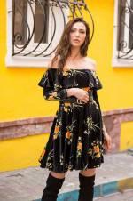 Kadın Siyah Madonna Yaka Kemerli Kadife Elbise Siyah 2477