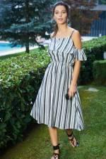Kadın Ekru Siyah Çizgili Askılı Elbise O&O-8Y408020