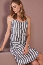 Kadın Gri-Beyaz Çizgili İp Askılı Elbise O&O-8Y246058