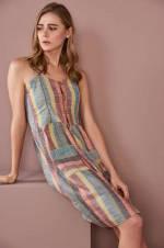 Kadın Renkli Çizgili Askılı Elbise O&O-8Y246060