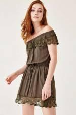 Kadın Haki Elbise OX-NOVOFFLACE