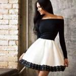 Siyah Beyaz Süper Mini Elbise