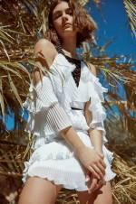 ALBERTINE Beyaz Volanlı Çapraz Biyeli Elbise TRVSS18FZ0031