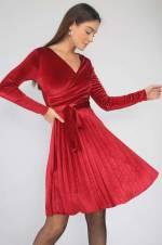 Kadın Bordo Eteği Pliseli Kruvaze Kuşaklı Likra Kadife Elbise S-19K1200006