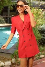 Kadın Kırmızı Kruvaze Yaka Önü Düğmeli Kısa Kol Elbise S-18Y1690053