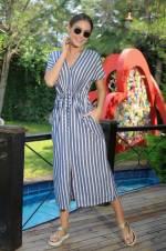 Kadın Lacivert-Ekru Çizgili Beli Kanallı Cepli Keten Elbise S-18Y0460013