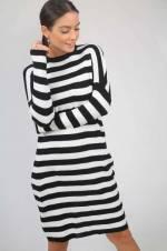 Kadın Siyah-Ekru Bisiklet Yaka Enine Çizgili Likra Triko Elbise S-19K0280019