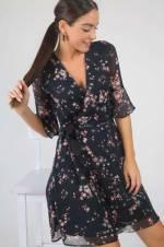 Kadın Siyah-Pudra Kruvaze Bel Bağlamalı Çıtır Desen Astarlı Şifon Elbise S-19K1520003
