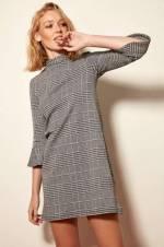 Gri Kolları Volanlı Örme Elbise TCLAW19VG0073