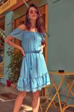 Mavi Puantiyeli Carmen Yaka Elbise TCLSS18BY0344