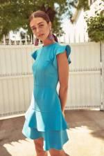 Mavi Volanlı Elbise TOFSS18AA0114