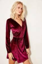 Mürdüm Kruvaze Kadife Örme Elbise TOFAW19VG0179