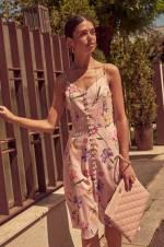 Pembe Çiçek Desenli Askılı Elbise TOFSS18BB0388