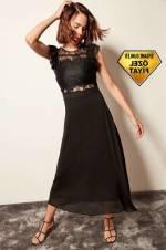 Siyah Dantel Detaylı Elbise TPRAW19FZ0204