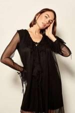 Siyah Puantiyeli Elbise TPRAW19FZ0353