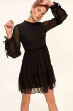 Siyah Yakası Fırfır Detaylı Elbise TOFAW19FG0077