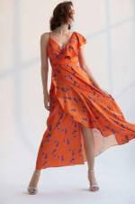 Turuncu Desenli Kruvaze Elbise TCLSS18BY0317